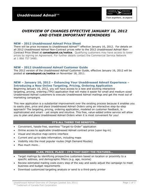 Canada Post Unaddressed Admail Map Unaddressed Admail™ OVERVIEW OF CHANGES    Canada Post