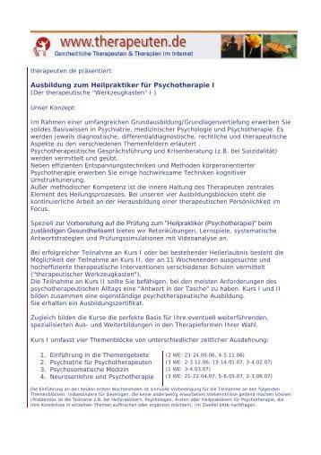 Ausbildung zum Heilpraktiker für Psychotherapie I Speziell zur ...