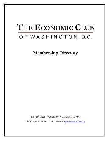 THE ECONOMIC CLUB ‾‾‾‾‾‾‾‾‾‾‾‾‾‾‾‾‾‾‾‾‾‾ Membership Directory