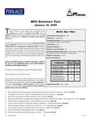 MFC 2009 - Analysis and Answer Keys - PT education
