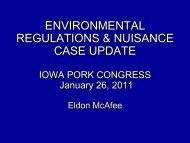 Iowa Environmental Regulations & Nuisance Case Update