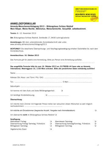 """""""RETZHOF""""/ ai-Mitglieder-Tagung - Amnesty International Österreich"""