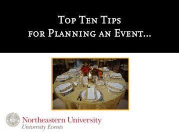 Top Ten Tips for Planning an Event