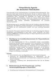Filmpolitische Agenda der deutschen Filmindustrie - SPIO