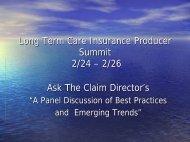 LTC 421 LTC INSURER PANEL - Long Term Care Insurance