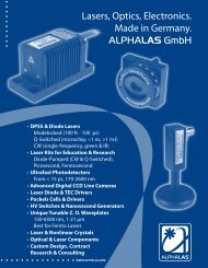 ALPHALAS GmbH - Lasers, Optics, Electronics. Made in Germany