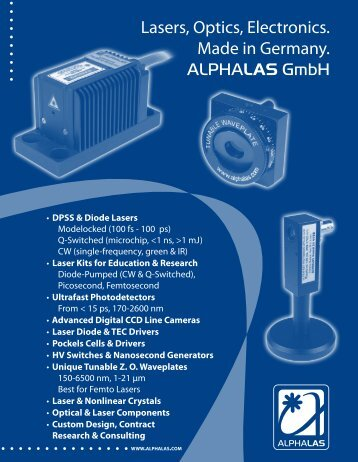 ALPHALAS GmbH - Lasers, Optics, Electronics. Made in Germany
