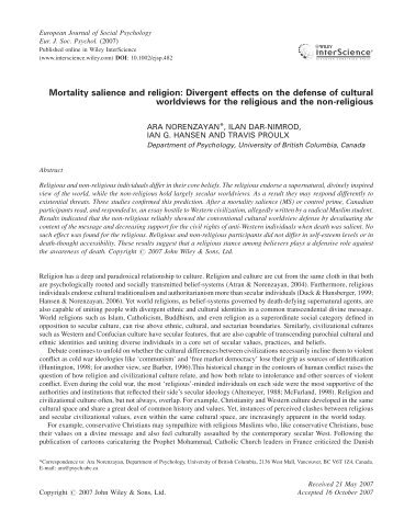 Mortality salience and religion - University of British Columbia