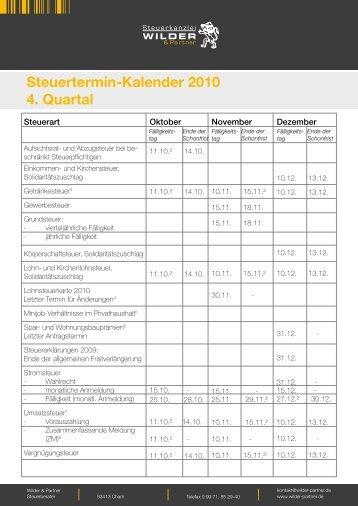4. Quartal - Steuerkanzlei Wilder & Partner