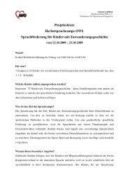 Projektskizze Herbst 2009 - Fachdienste für Migration und Integration
