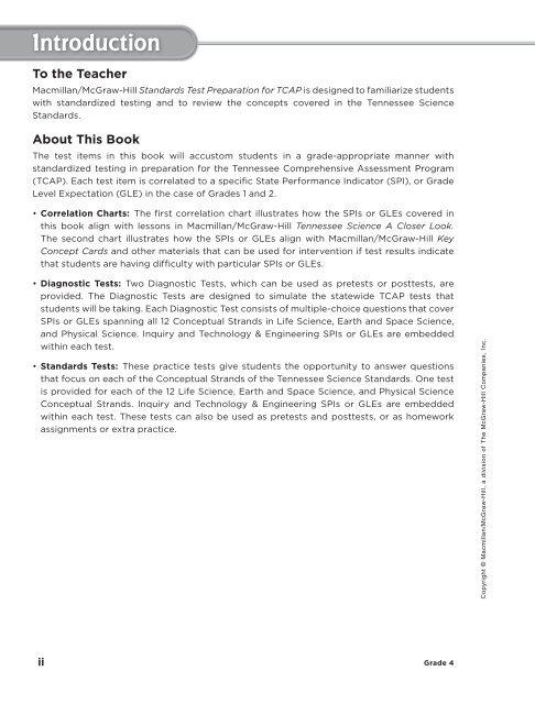 Tn Science A Closer Look Grade 4 Test Prep Workbook