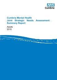 Cumbria Mental Health Joint Strategic Needs ... - NHS Cumbria