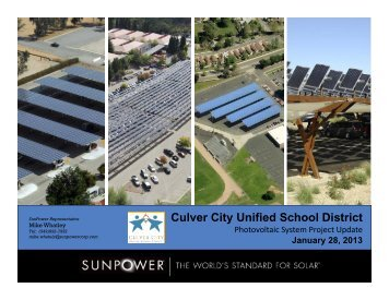 Solar Project Update - Culver City Unified School District