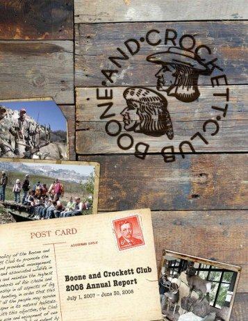 2008 Annual Report PDF - Boone and Crockett Club