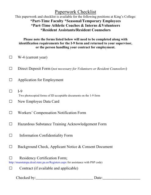 New Employee Paperwork Packet King S College