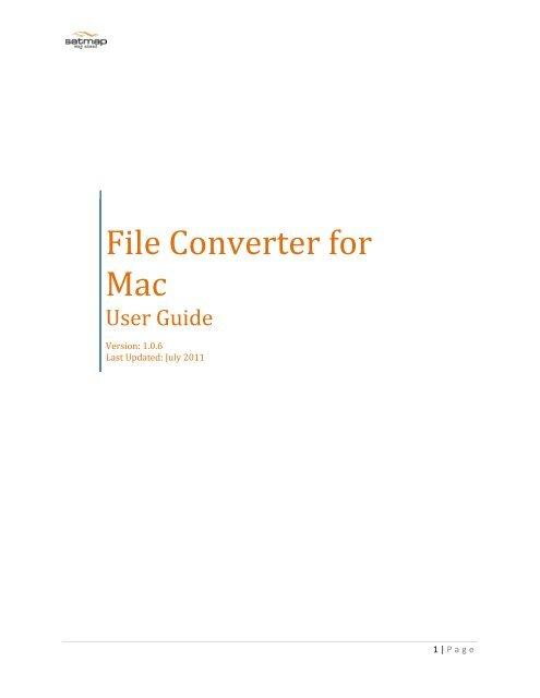 File Converter for Mac User Guide - Satmap