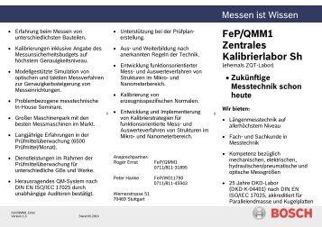 Info-Flyer über unser DKD-Labor - Bosch-Kalibrierdienst
