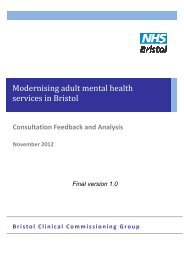 Modernising adult mental health services in Bristol - NHS Bristol