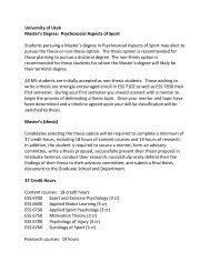MS Thesis Option - University of Utah