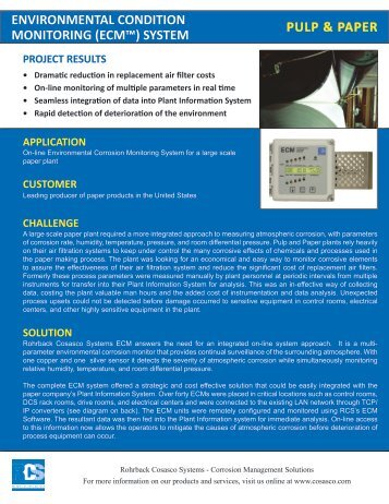 pulp & paper environmental condition monitoring (ecm™) system