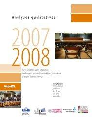 Analyses qualitatives - Enquête sur les formations à distance de l'AUF
