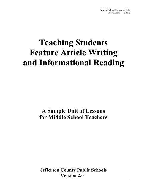 Teaching Feature Writing