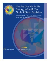 One Size Does Not Fit All: Meeting the Health ... - Joint Commission