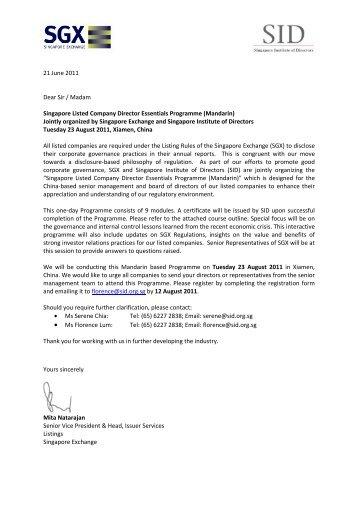 21 June 2011 Dear Sir / Madam Singapore Listed Company Director ...