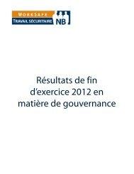 Résultats de fin d'exercice 2012 en matière de gouvernance