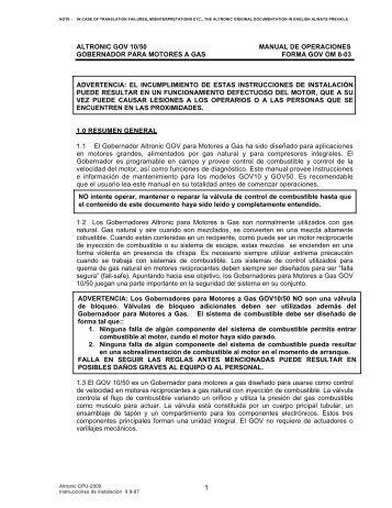 altronic gov 10/50 manual de operaciones gobernador ... - Altronic Inc.