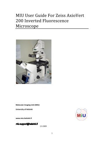 MIU User Guide For Zeiss AxioVert 200 Inverted Fluorescence ...