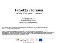 Projektu vadīšana. 1. seminārs (11.10.2012.)
