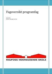 Fagoversikt programfag - Videregående skoler