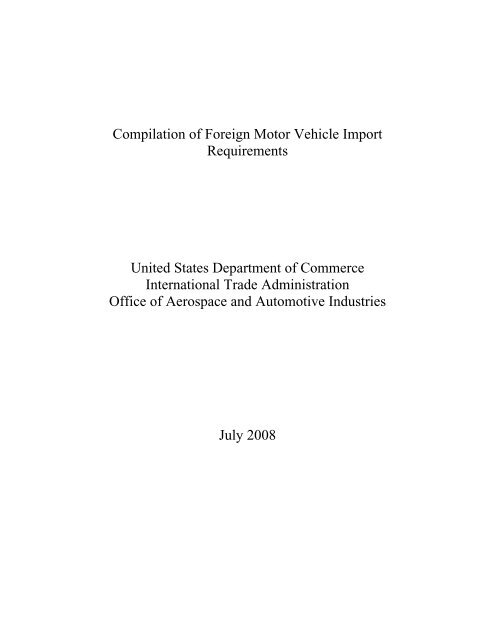 International Vehicle Importers >> Compilation Of Foreign Motor Vehicle Import Requirements Pdf