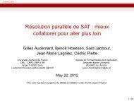 Résolution parallčle de SAT : mieux collaborer pour ... - LAAS CNRS