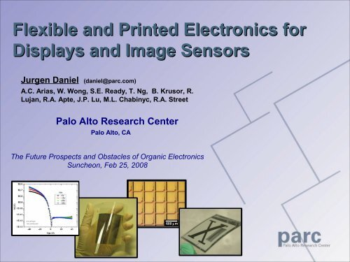 Flexible and Printed Electronics for Displays and Image Sensors - Parc