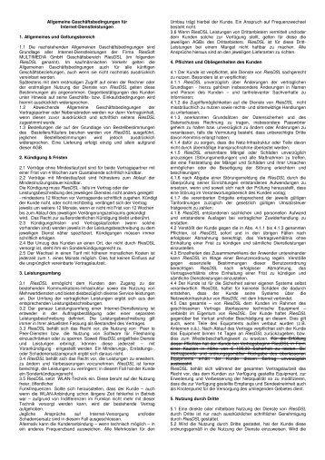 Allgemeine Geschäftsbedingungen gültig ab 01.01.2009 - RiesDSL.de