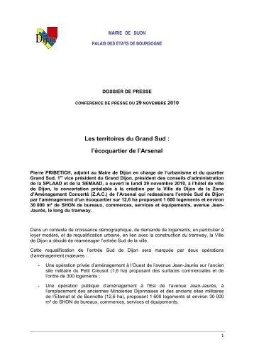 Communiqué de presse de la concertation ZAC ... - (ENSA) Dijon
