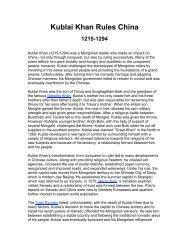 Kublai Khan Rules China - J-blanchard.org