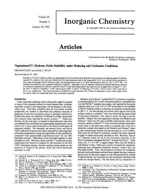 hydrous oxide solubility under reduc... - U.S. Department of Energy