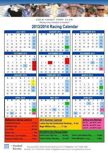 2013/2014 Racing Calendar