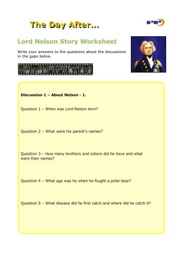 Lord Nelson Story Worksheet - The Day After - E2BN