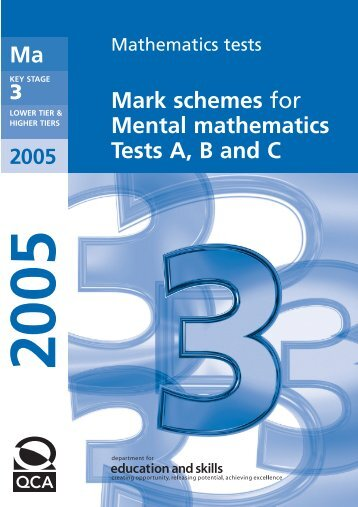 Mark schemes for Mental mathematics Tests A, B and C Ma - Emaths