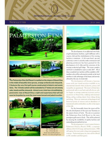 JUL 2006 Newsletter - International Associate Clubs