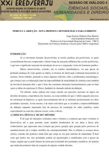 peirce e a abdução - nova proposta metodológica para o direito - Urca