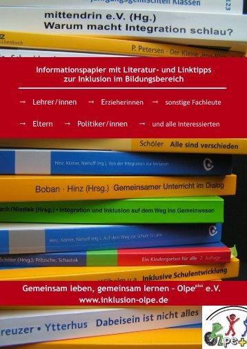 Download Literatur- und Linkstipps zur Inklusion im Bildungsbereich