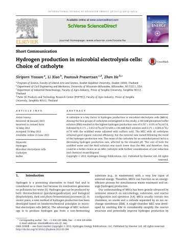 Hydrogen production in microbial electrolysis cells: Choice of catholyte