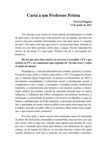 Carta a um Professor Petista - Academia Brasileira de Defesa