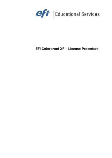 EFI Colorproof XF – License Procedure - Quentin