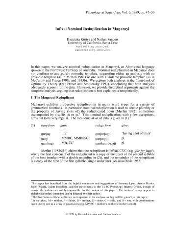 Infixal Nominal Reduplication in MaMarayi - Nathan Sanders